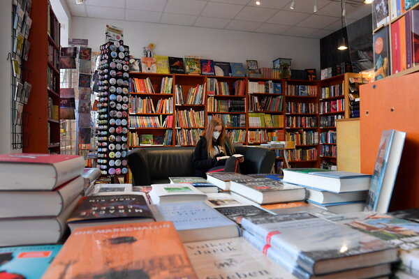A reopened bookstore after a monthslong lockdown in Dresden, Germany, this month.