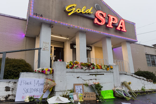 A memorial outside of Gold Spa in Atlanta on Wednesday, one day after a gunman killed three women there.