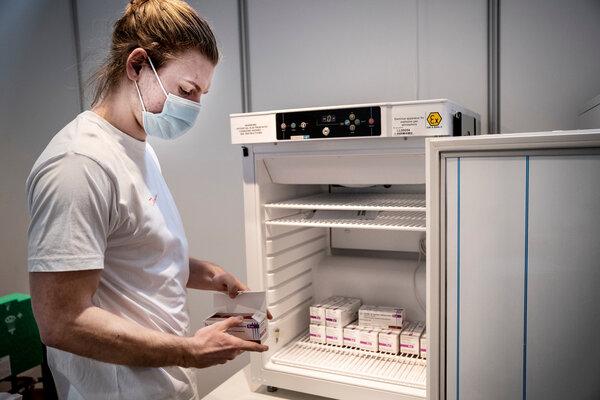 Vials of the AstraZeneca Covid-19 vaccine at a regional vaccine center in Copenhagen.
