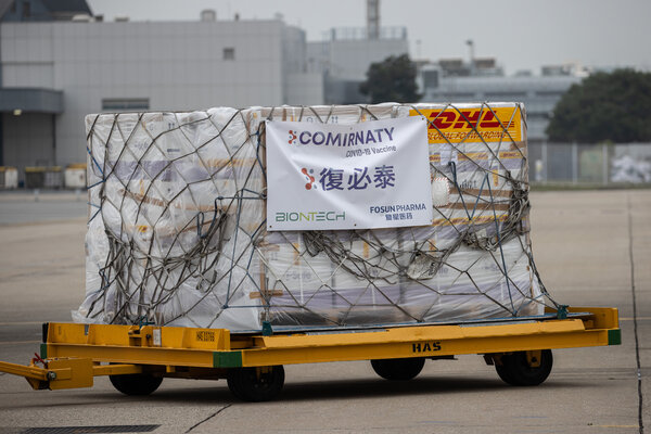 A trolley carrying BioNTech vaccines at Hong Kong International Airport in February.