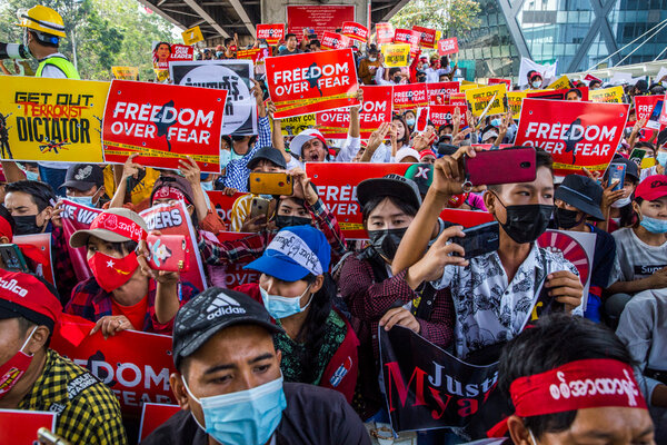Protesters in Yangon last week.