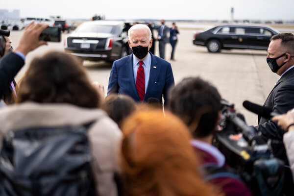 President Biden speaking to news outlets last week in Ohio. He will face reporters in his first formal news conference Thursday afternoon.