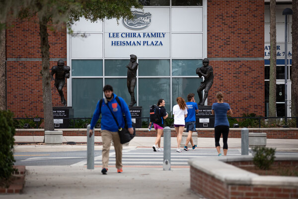 The campus of the University of Florida, in Gainesville, last December. The university is one of more than 20 where students are being recruited for a large-scale study that aims to answer an urgent question: Can the vaccinated still spread the virus?