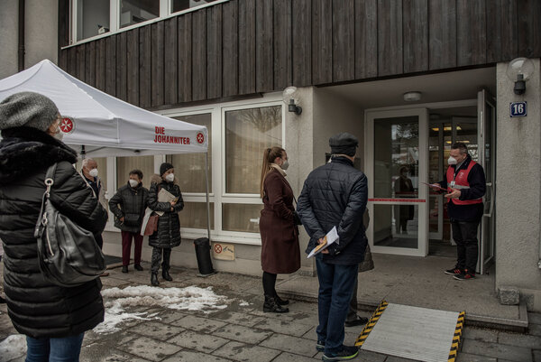 A line for vaccines in Munich, earlier this week.Only about 10 percent of Europeans have received a first dose.