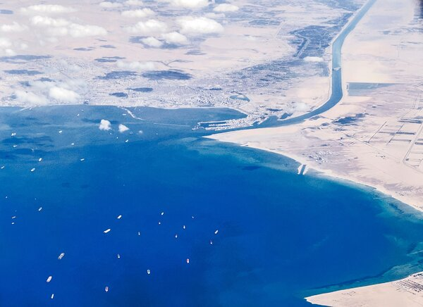 An aerial view of ships stranded in the Red Sea on Saturday.