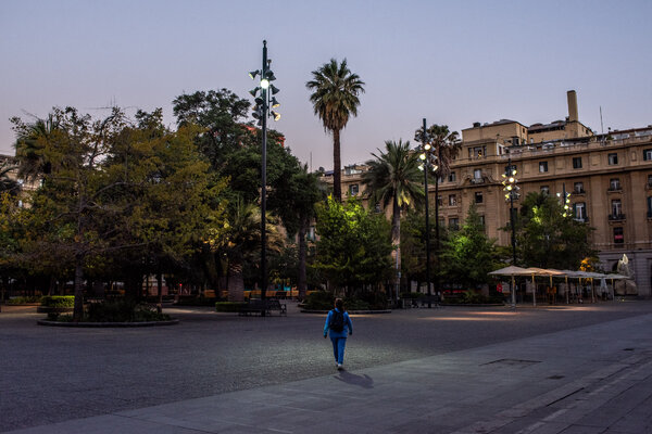 Plaza de Armas in downtown Santiago, Chile, on Sunday after a quarantine order was imposed.