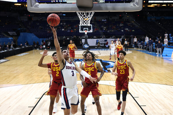 Andrew Nembhard of Gonzaga says he would love to play Baylor in the N.C.A.A. tournament final. His team has to get past U.C.L.A. first.