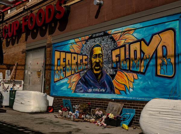 Members of the Native American community are preparing for possible unrest again after a verdict in the trial of Derek Chauvin in the death of George Floyd, pictured in a mural near where he was arrested last year.