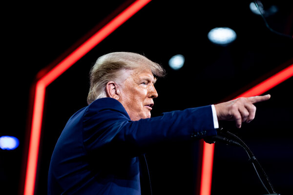 Former President Donald J. Trump spoke at the Conservative Political Action Conference in Orlando, Fla., in February.