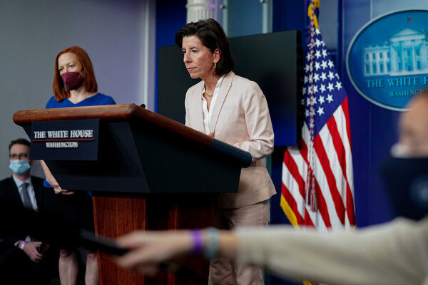 Gina Raimondo, the secretary of the Commerce Department, which said that seven Chinese entities were at odds with U.S. foreign policy or national security interests.