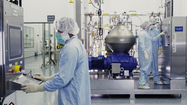 Scientists working at a Regeneron facility in New York State in 2020.