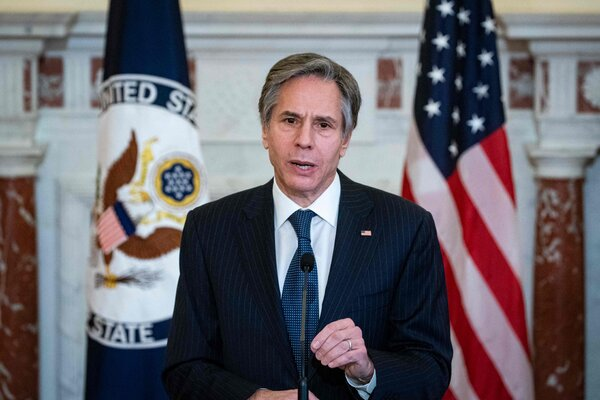 Secretary of State Antony J. Blinken at the State Department in Washington this month. Blinken is calling for additional information on the Covid origins in China.