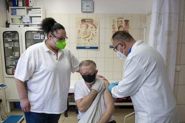 In Atany, Hungary, administering a coronavirus vaccine produced by Sinopharm, a state-owned Chinese company.