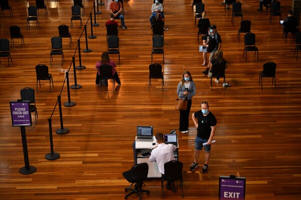 A vaccination center at the Royal Exhibition Building in Melbourne, Australia, last month.