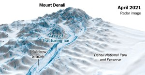 The Muldrow Glacier in Alaska is moving 100 times faster than normal