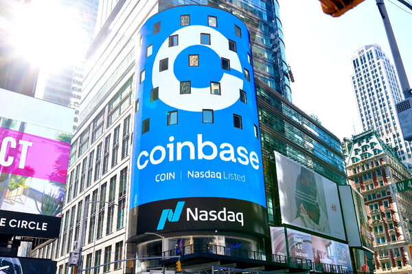 Coinbase's market debut on the Nasdaq Tower in Times Square on Wednesday.