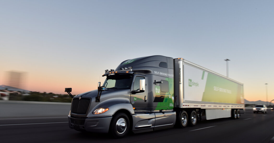 Shares of TuSimple, a developer of autonomous trucks, fall sharply after I.P.O. before recovering.