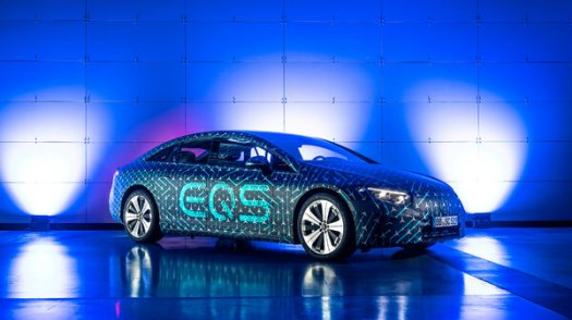 Mercedes-Benz said the electric EQS can travel up to 480 miles on a single charge, a feat the company attributed to new battery technology and the car's aerodynamic shape.