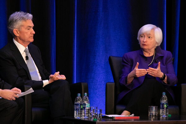 Jerome Powell, the Federal Reserve chair, and Janet Yellen, the secretary of the Treasury, in 2019.
