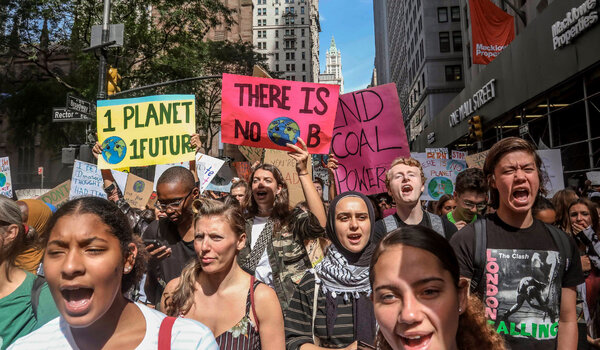 Climate change activists in New York demonstrated during a global day of action in 2019.