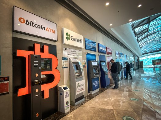 A bitcoin ATM in an Istanbul shopping mall. Many Turks have turned to cryptocurrencies as a hedge against inflation.