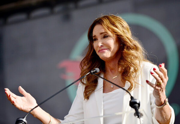 Caitlyn Jenner speaks at the fourth annual Women's March in Los Angeles last January.