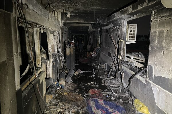 The aftermath of a fire at a hospital in Baghdad on Sunday.