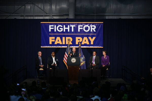 Joseph R. Biden Jr., then vice president, at a 2015 event calling for a $15 minimum wage in New York.