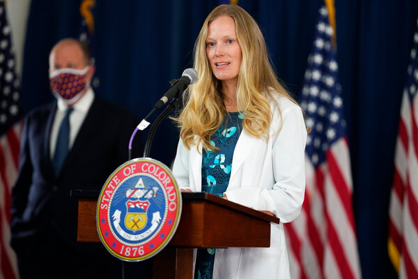 Dr. Rachel Herlihy, state epidemiologist with the Colorado Department of Public Health and Environment, at a news conference last week in Denver.