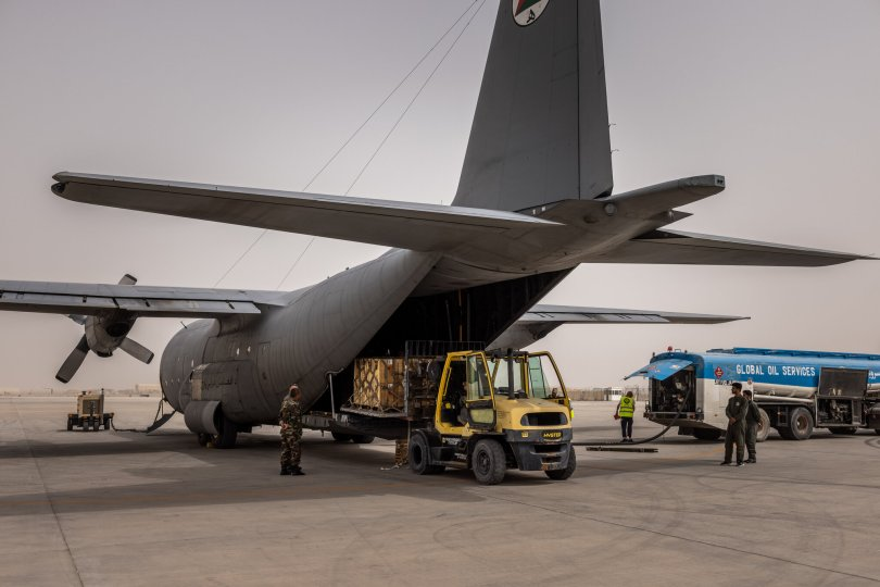 Unloading ammunition from a transport plane at Kandahar Airfield in Afghanistan on Saturday.