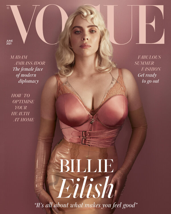 The singer Billie Eilish, from the cover of the June 2021 issue of British Vogue, which is going on sale Friday.