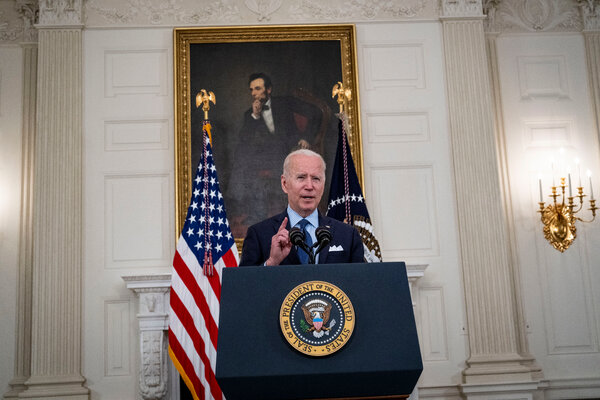 President Biden on Tuesday at the White House. The administration hopes toat least partly vaccinate 70 percent of American adults by the Fourth of July.