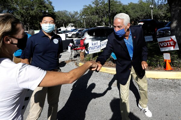 Representative Charlie Crist, Democrat of Florida, greeting supporters in St. Petersburg, Fla., in November.