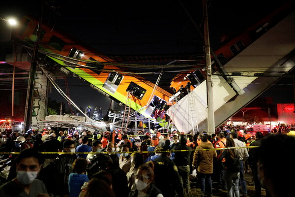An unknown number of people were trapped in the train wreckage in Mexico City, officials said.