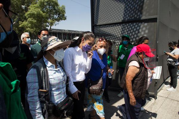 Mexico City's mayor, Claudia Sheinbaum, center left, in March.