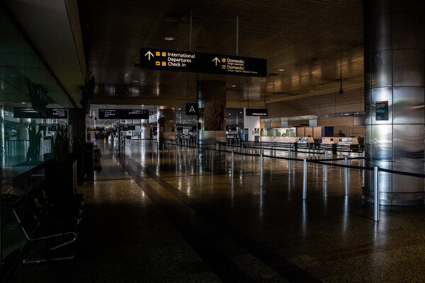 An empty Melbourne Airport in Australia last month. Australian citizens stranded in India are not allowed to come home.