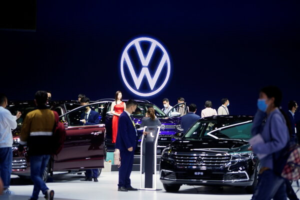 Volkswagen's display at the Shanghai auto show in China last month. China is the German carmaker's largest market.