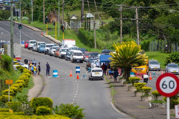 A checkpoint in Suva, Fiji, last week, after the Fijian capital entered a 14-day lockdown.