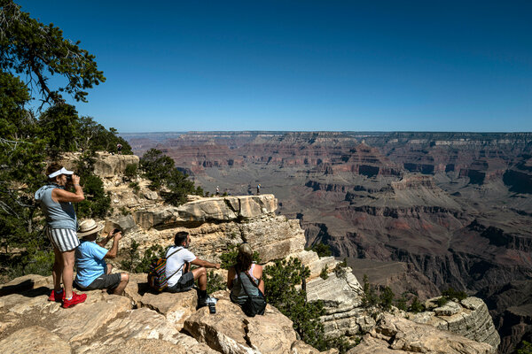 The Grand Canyon, looking north from the South Rim, in July 2020.