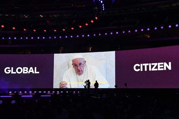 Pope Francis speaks during the Global Citizen VAX LIVE: The Concert To Reunite The World, which will air on Saturday.