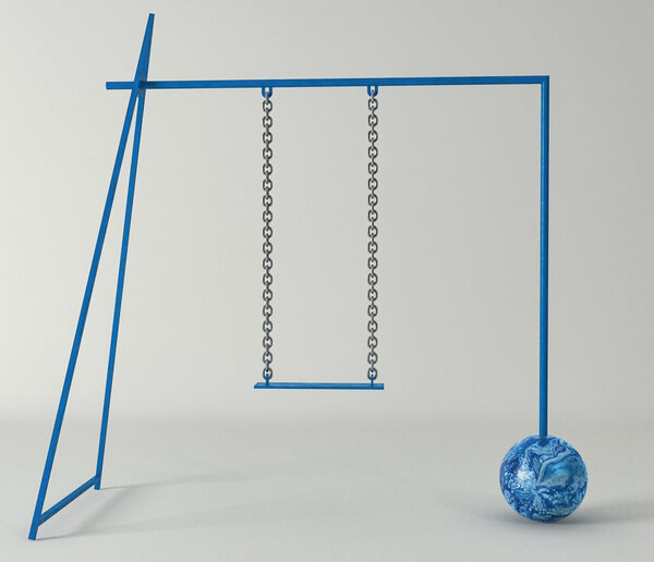 "A rendering of the ""Ol' Ball and Chain"" swing set from Micah Rosenblatt, which will be at the Brooklyn show ""Inside-Out in the Garden."""
