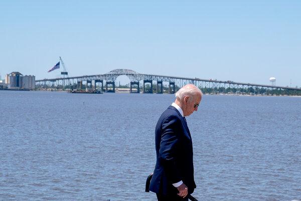 President Biden visited Lake Charles, La., on Thursday to promote his American Jobs Plan.