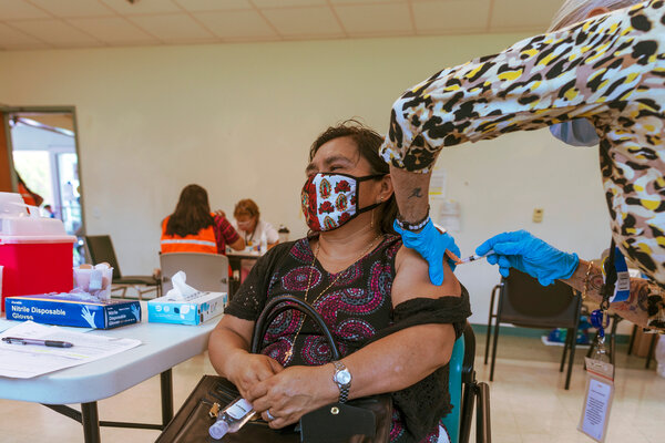 Anna Aguilar, a member of the Guatemalan Maya community in Lake Worth, Fla., received a Covid vaccine last month.