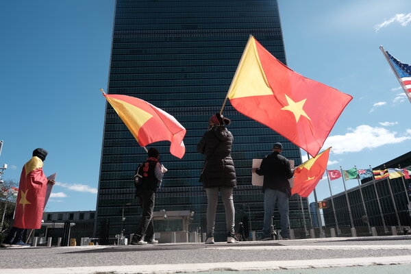 Tigrayan protesters outside the United Nations building in March. Demonstrations against the Ethiopian government's actions have taken place around the world.