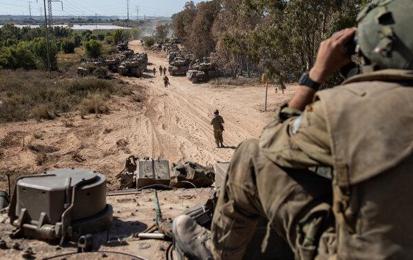 Israeli ground forces at the Gaza border on Friday.