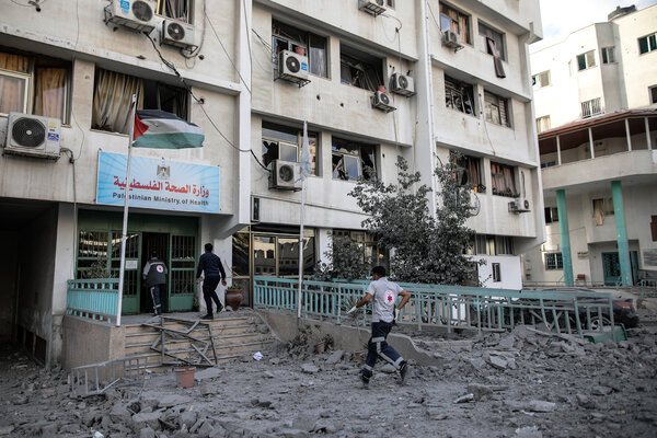 Strikes damaged buildings including one that housed the health authorities in Gaza City on Monday.
