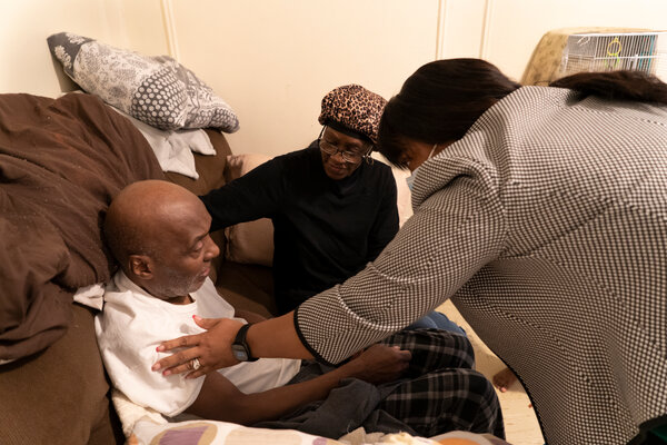 A homebound resident in the Bronx receives a dose of coronavirus vaccine. A new initiative is pushing for federally funded family and medical leave, and affordable child care and elder care.