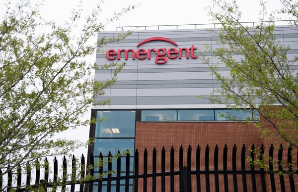 One of Emergent BioSolutions' plants in Baltimore last April. The biotech company awarded cash bonuses of up to .2 million to its top executives last year.