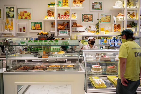 The bakery La Antioquena VII, in Flushing, Queens on Wednesday, is ready for customers as the city opens up.