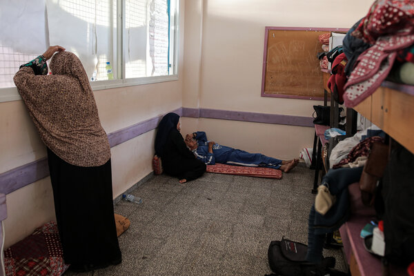 Palestinians who sought refuge on Wednesday in a school run by the United Nations in Gaza City.